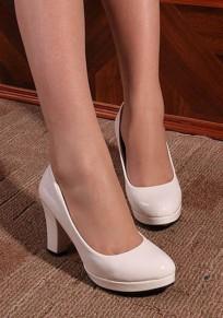 Zapatos punta redonda fornido casuales de tacón alto blanco
