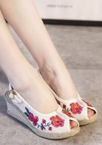Sandalias cuñas de la piscina boca impresión floral casuales blanco