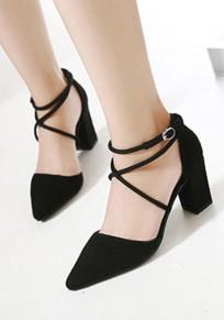 Scarpe punto di punta della moda robusto camoscio tacco alto nero