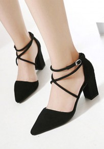 Schwarz Punkt Zehe klobig Mode Wildleder High-Heels Schuhe
