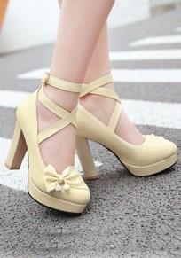 Zapatos punta redonda hebilla de pajarita gruesa dulce de tacón alto beige