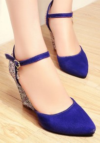 Blue Round Toe Sequin Fashion Buckle Wedges Shoes