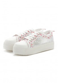 Chaussures bout rond occasionnel grenade plat blanc