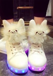 Zapatos luces llevadas oso de peluche de moda plana blanco