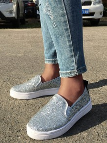 Silver Round Toe Flat Sequin Casual Shoes