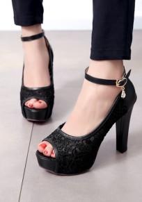 Schwarze klobig Spitze Mode High-Heels Sandalen