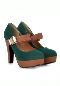 Green Round Toe Chunky Buckle Casual High-Heeled Shoes