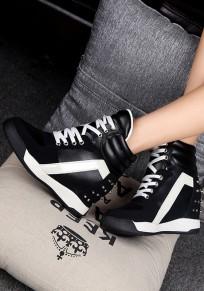 Chaussures plat à l'intérieur du river supérieur décontracté noir