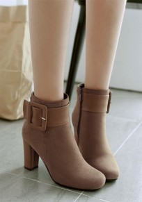 Apricot Round Toe Chunky Sweet Buckle High-Heeled Boots