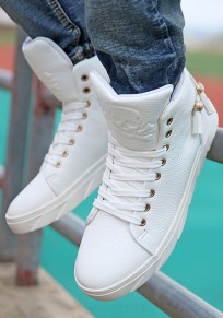 Zapatos punta redonda de encaje plano casuales blanco
