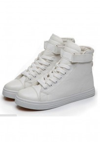 White Round Toe Casual Lace-up Flat Canvas Shoes