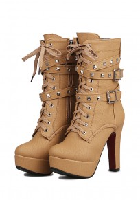 Camel Round Toe Chunky Zipper Casual Rivet Boots