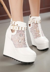 White Round Toe Rivet Lace Stitching Casual Wedges Shoes