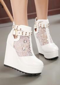 Weiße runde Zehe Niet Spitze Broschierung Beiläufig Wedges Schuhe