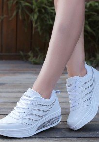White Round Toe Flat Lace-up Casual Sports Shoes