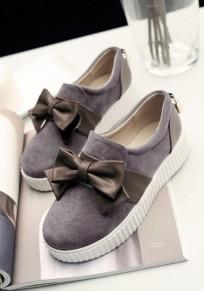 Chaussures bout rond plat noeud papillon mignon décontracté femme baskets gris