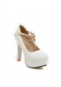 Zapatos punta redonda borla gruesa diamante de imitación de tacón alto blanco