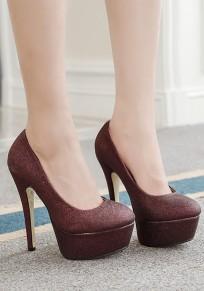 Zapatos punta redonda estilete lentejuelas de tacón alto vino tinto