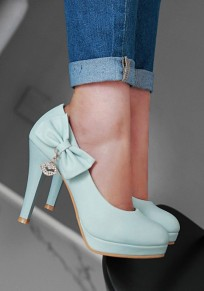 Blue Round Toe Stiletto Bow Casual High-Heeled Shoes