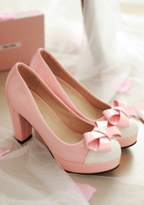 Chaussures bout rond trapu nœud papillon doux à talons hauts rose