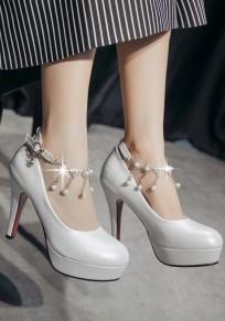 Zapatos punta redonda de estilete de perlas cadena de moda de tacón alto blanco