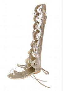 Sandales bout rond bretelles plates décontractées dorées
