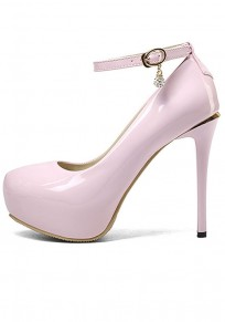 Pink Round Toe Stiletto Fashion Buckle High-Heeled Shoes