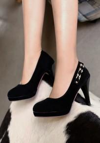 Zapatos punta redonda de diamantes de imitación de tacón alto de tacón alto negro