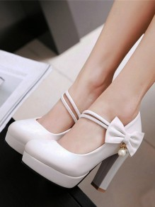 White Round Toe Chunky Platform Pumps Bow Pearl Strap Sweet Wedding Prom High-Heeled Shoes
