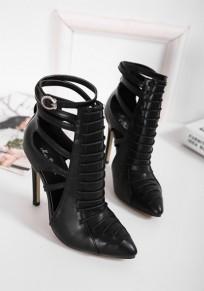 Chaussures pointe pointe stylet découpes mode à talons hauts noir
