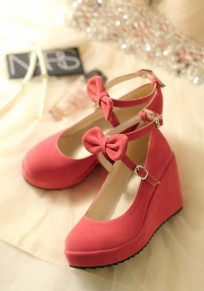 Pink Round Toe Bow Casual Buckle Wedges Shoes