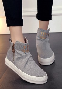 Grey Round Toe Casual Zipper Flat Canvas Shoes