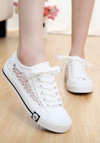 White Round Toe Casual Lace-up Hollow-out Canvas Shoes