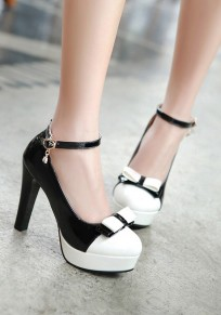 Black Round Toe Chunky Casual Bow High-Heeled Shoes