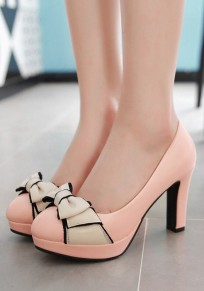 Pink Round Toe Chunky Casual Bow High-Heeled Shoes