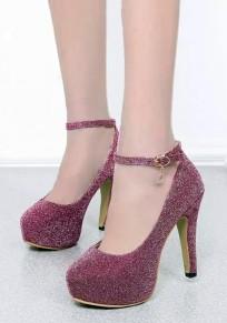 Chaussures bout rond stylet boucle mode à talons hauts violet