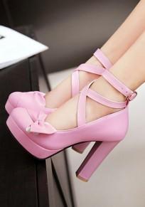 Chaussures bout rond grosse cravate mode boucle à talons hauts violet