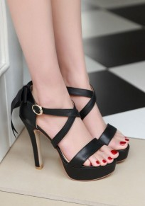 Black Round Toe Stiletto Bow Fashion High-Heeled Sandals