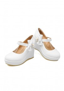 White Round Toe Fashion Bow Wedges Shoes