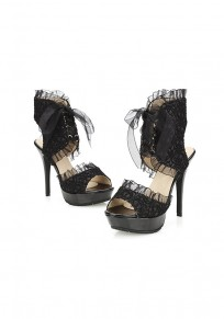 Black Piscine Mouth Stiletto Fashion Lace High-Heeled Sandals