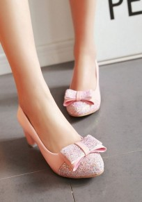 Pink Round Toe Chunky Bow Sweet Mid-Heeled Shoes