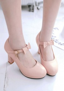 Pink Round Toe Chunky Bow Fashion High-Heeled Shoes