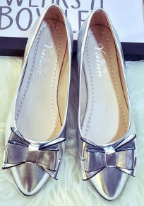 Silver Point Toe Bow Fashion Flat Shoes