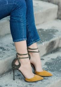 Sandales femme haute talons cheville boucle bout pointu mode jaune et kaki