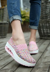 Pink Round Toe Heavy-Soled Casual Shoes