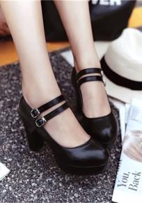 Schwarze runde Zehe klobig doppelte Wölbung beiläufige Hochhackig Schuhe