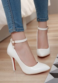 Zapatos punto punta estilete hebilla casuales de tacón alto blanco