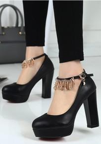 Black Round Toe Chunky Fashion Buckle High-Heeled Shoes
