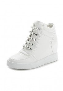 White Round Toe Within The Higher Rhinestone Zipper Casual Shoes
