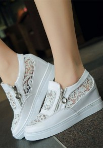 White Round Toe Casual Lace Zipper Flat Shoes